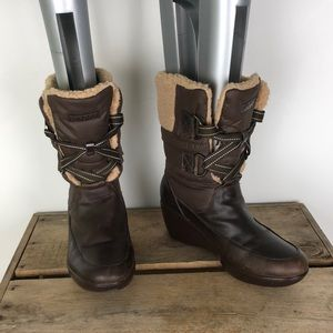 SPERRY leather / canvas shearling lined boots sz 7